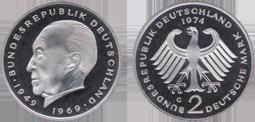 Konrad Adenauer 1969 1987 2 Mark Jägernummer 406 Beutler Münzen