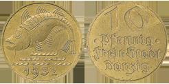 1932 10 Pfennig Jägernummer D13 Beutler Münzen Freie Stadt Danzig