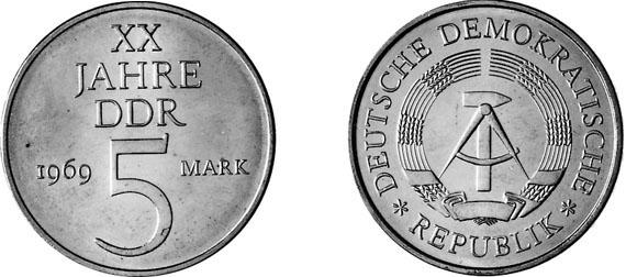 20 Jahre Ddr Legierungsprobe 5 Mark Jägernummer 1524p Beutler
