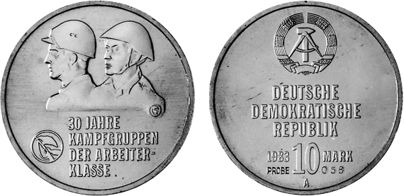 30 Jahre Kampfgruppen Motivprobe 10 Mark Jägernummer 1593p Beutler