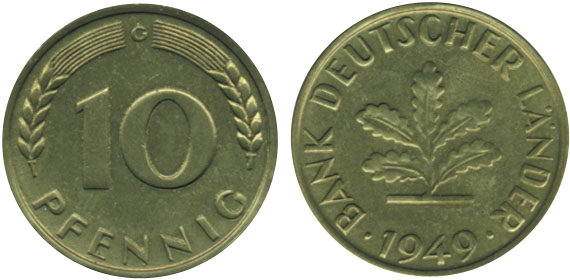 Bank Deutscher Länder 10 Pfennig Jägernummer 378 Beutler Münzen