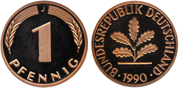 1950 2001 1 Pfennig Jägernummer 380 Beutler Münzen Kursmünzen
