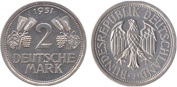 ähren Und Trauben 1951 2 Mark Jägernummer 386 Beutler Münzen