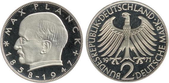 Max Planck 1957 1971 2 Mark Jägernummer 392 Beutler Münzen