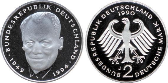 Willy Brandt 1994 2001 2 Mark Jägernummer 459 Beutler Münzen