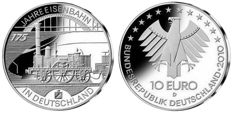 175 Jahre Eisenbahn In Deutschland 10 Beutler Münzen Deutschland