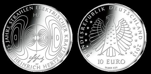 125 Jahre Heinrich Hertz 10 Jägernummer 584 Beutler Münzen
