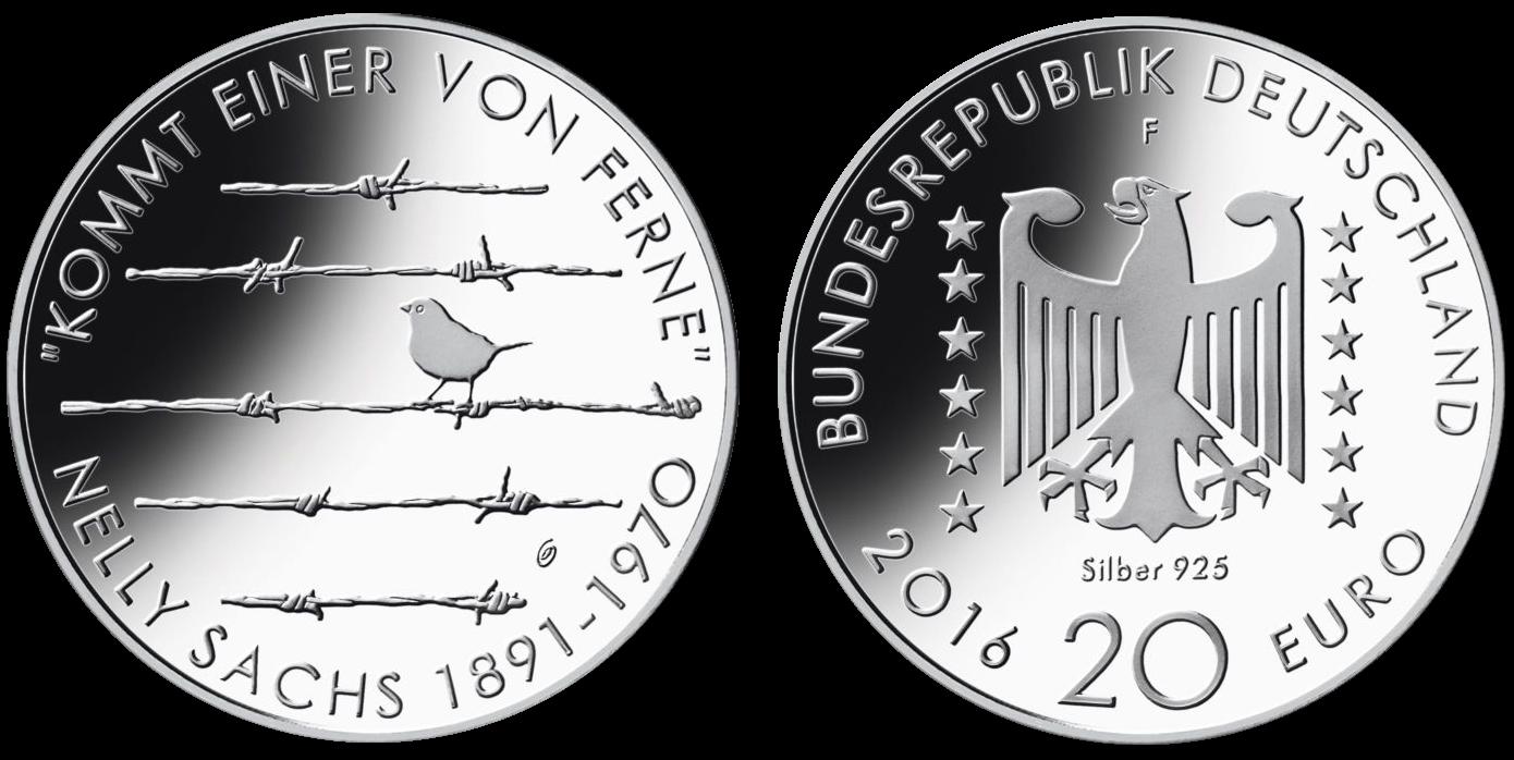 125 geburtstag nelly sachs 20 beutler m nzen deutschland gedenkm nzen euro sammlerm nzen. Black Bedroom Furniture Sets. Home Design Ideas
