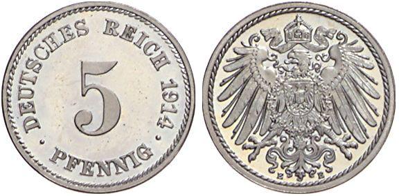 1890 1915 5 Pfennig Jägernummer 12 Beutler Münzen Kursmünzen