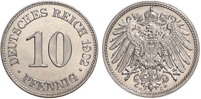 1890 1916 10 Pfennig Jägernummer 13 Beutler Münzen Kursmünzen