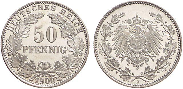 1896 1903 50 Pfennig Jägernummer 15 Beutler Münzen Kursmünzen