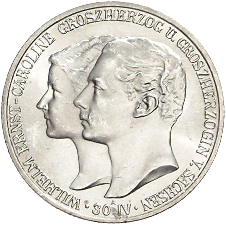 Zur Hochzeit 2 Mark Jägernummer 158 Beutler Münzen Sachsen Weimar