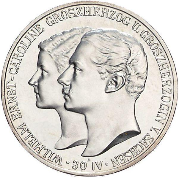 Zur Hochzeit 5 Mark Jägernummer 159 Beutler Münzen Sachsen Weimar
