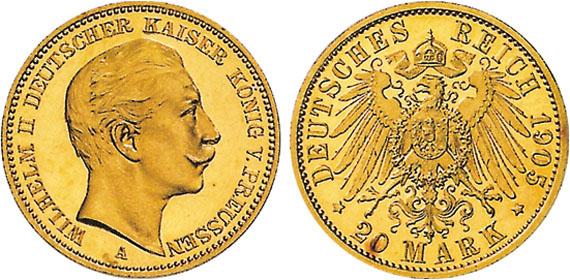 Wilhelm Ii 20 Mark Jägernummer 252 Beutler Münzen Preussen