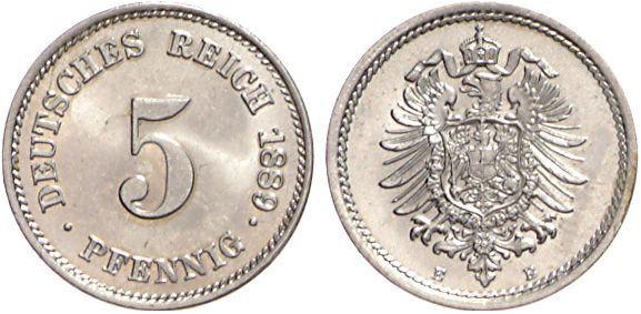 1874 1889 5 Pfennig Jägernummer 3 Beutler Münzen Kursmünzen