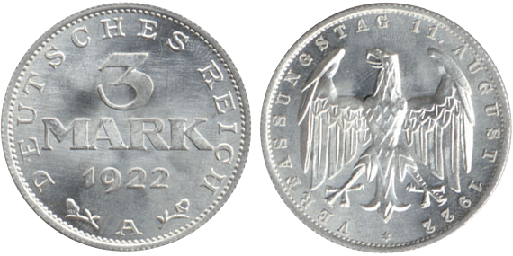 1922 1923 3 Mark Jägernummer 303 Beutler Münzen Kursmünzen Weimarer