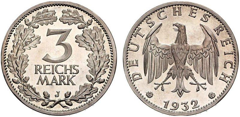 1931 1933 3 Reichsmark Jägernummer 349 Beutler Münzen Kursmünzen