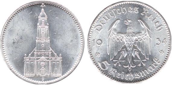 Garnisonskirche Ohne Datum 5 Reichsmark Jägernummer 357 Beutler