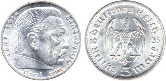 Paul Von Hindenburg 5 Reichsmark Jägernummer 360 Beutler Münzen 3