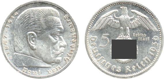 Paul Von Hindenburg 5 Reichsmark Jägernummer 367 Beutler Münzen 3