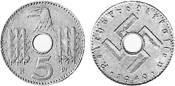 1940 1941 5 Reichspfennig Jägernummer 618 Beutler Münzen