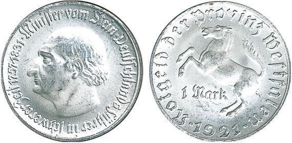 1921 1 Mark Jägernummer N10 Beutler Münzen Provinz Westfalen