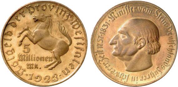 1923 5 Mio Mark Jägernummer N21 Beutler Münzen Provinz Westfalen