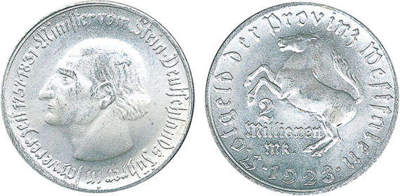 1923 2 Mio Mark Jägernummer N25 Beutler Münzen Provinz Westfalen